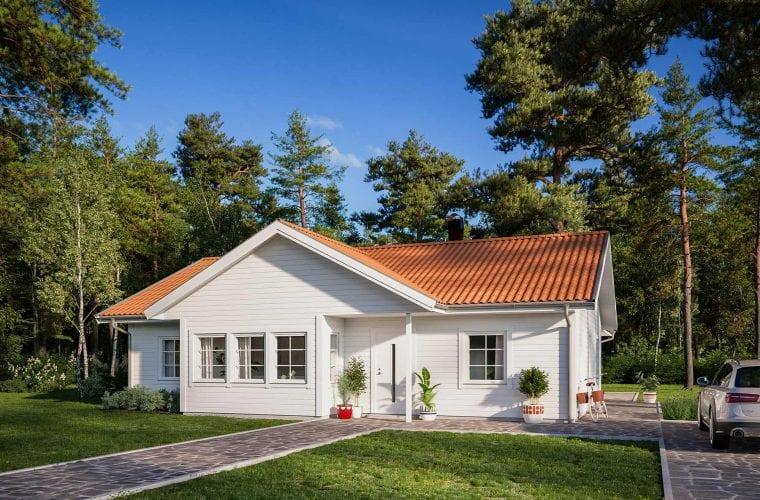 Borohus Karisma 10 med vitmålad träpanel och tegelrött tak