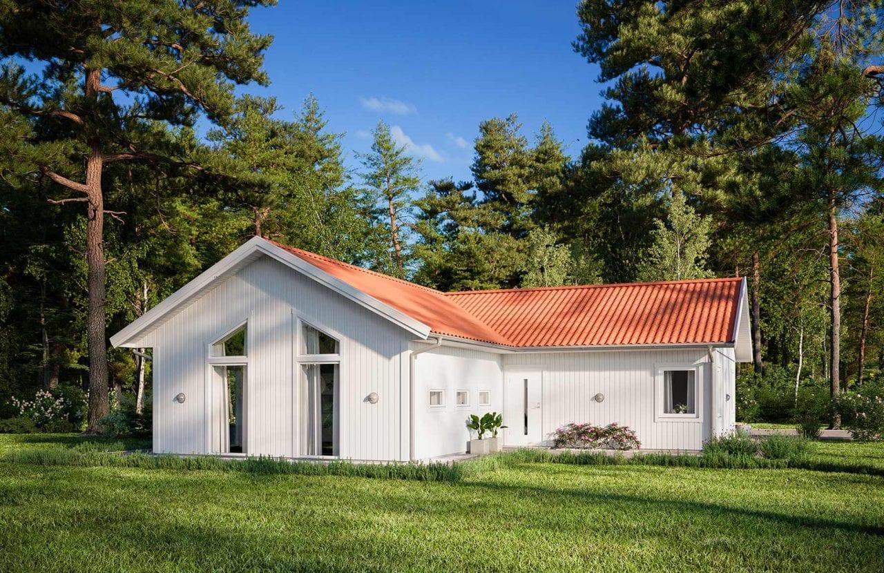 Borohus Karisma 9 med vitmålad träpanel och tegelrött tak
