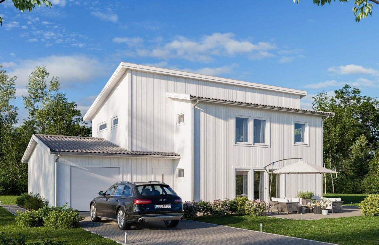 Borohus villa Nova 1 med vit träfasad