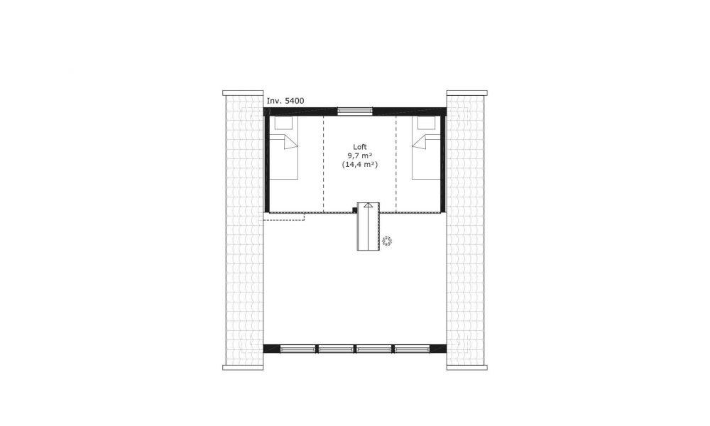 Första Klinten planritning som visar loftet