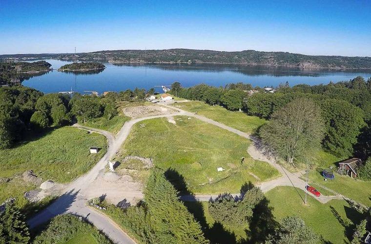 Flygbild över tomterna på Grötån