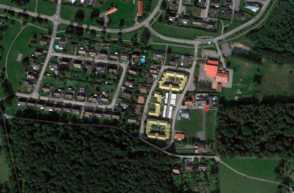 Tärnan kartbild över tomterna i Åstorp