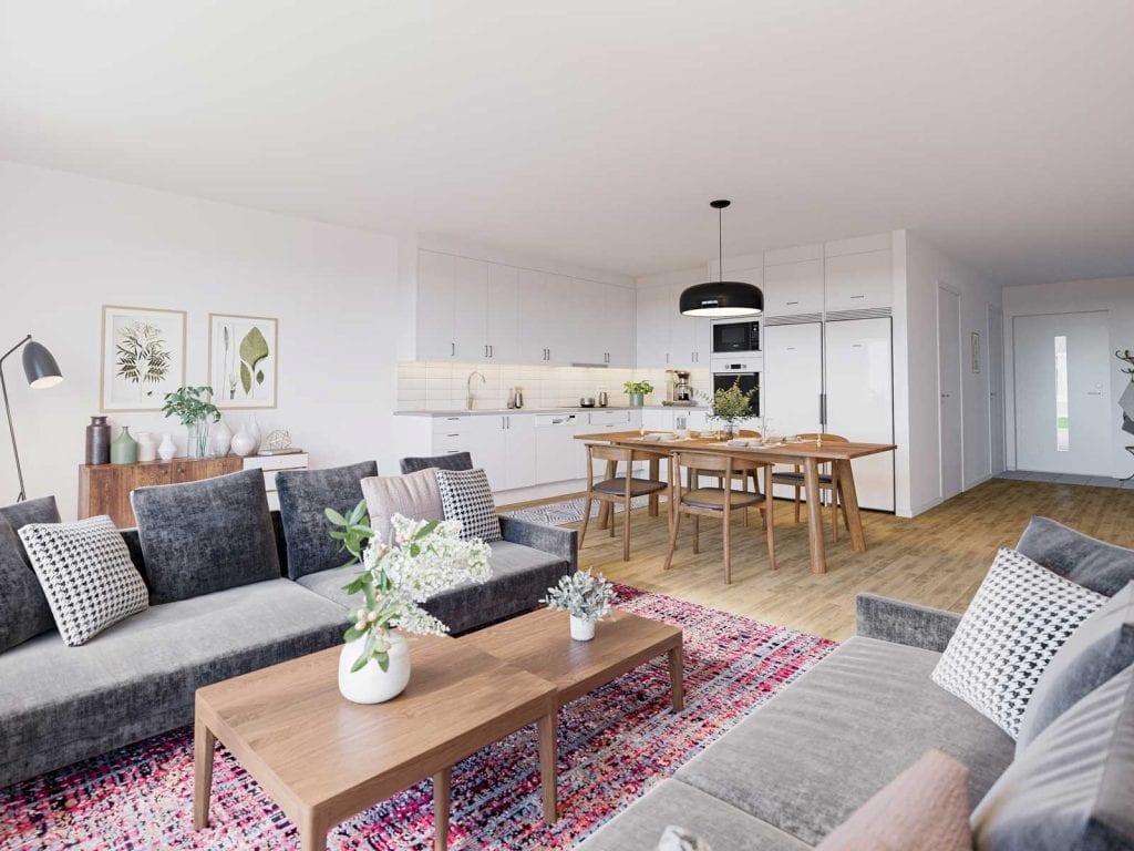 Borohus Brf Växthuset i Ulricehamn kök/vardagsrum