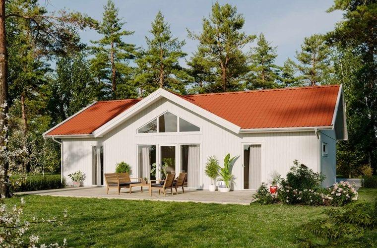 Bild på Borohus Karisma 5B med vit träfasad och tegelrött tak.