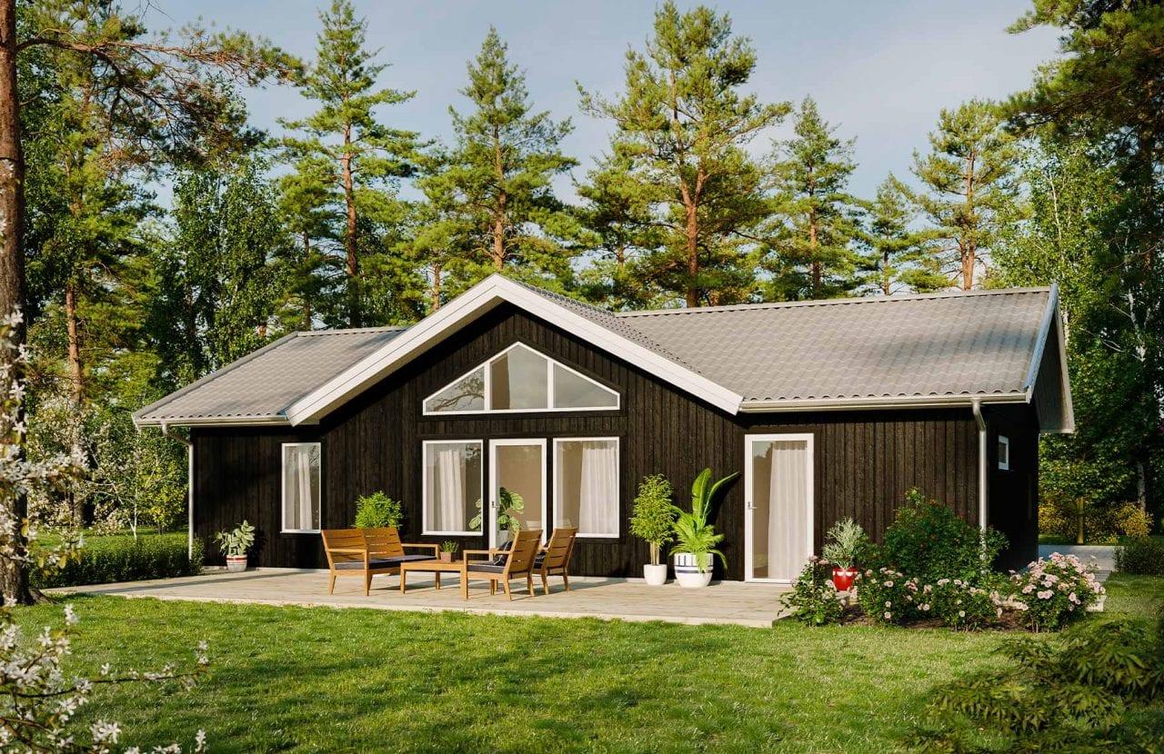 Bild på Borohus Tionde Fjärden med svart träfasad och grått tak.